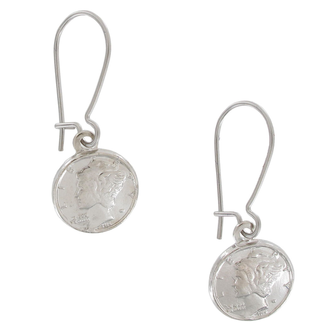 Vintage Miniature USA Mercury Dime Coin Pierced Earrings Silver Tone Dangle 1""