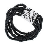 Handmade Wooden Beaded Black White Flower 5 Strand Stretch Bracelet