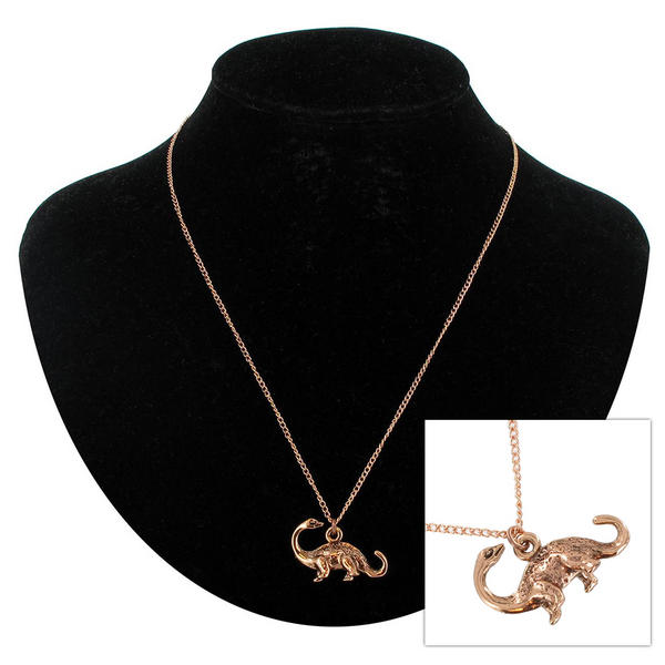 "KY & Co USA Made Rose Gold Tone Dinosaur Long Neck Pendant 18"" Chain Necklace"