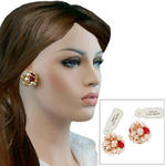 Vintage Czech Red Crystal Faux Pearl Creamrose Baroque Cluster Clip On Earrings