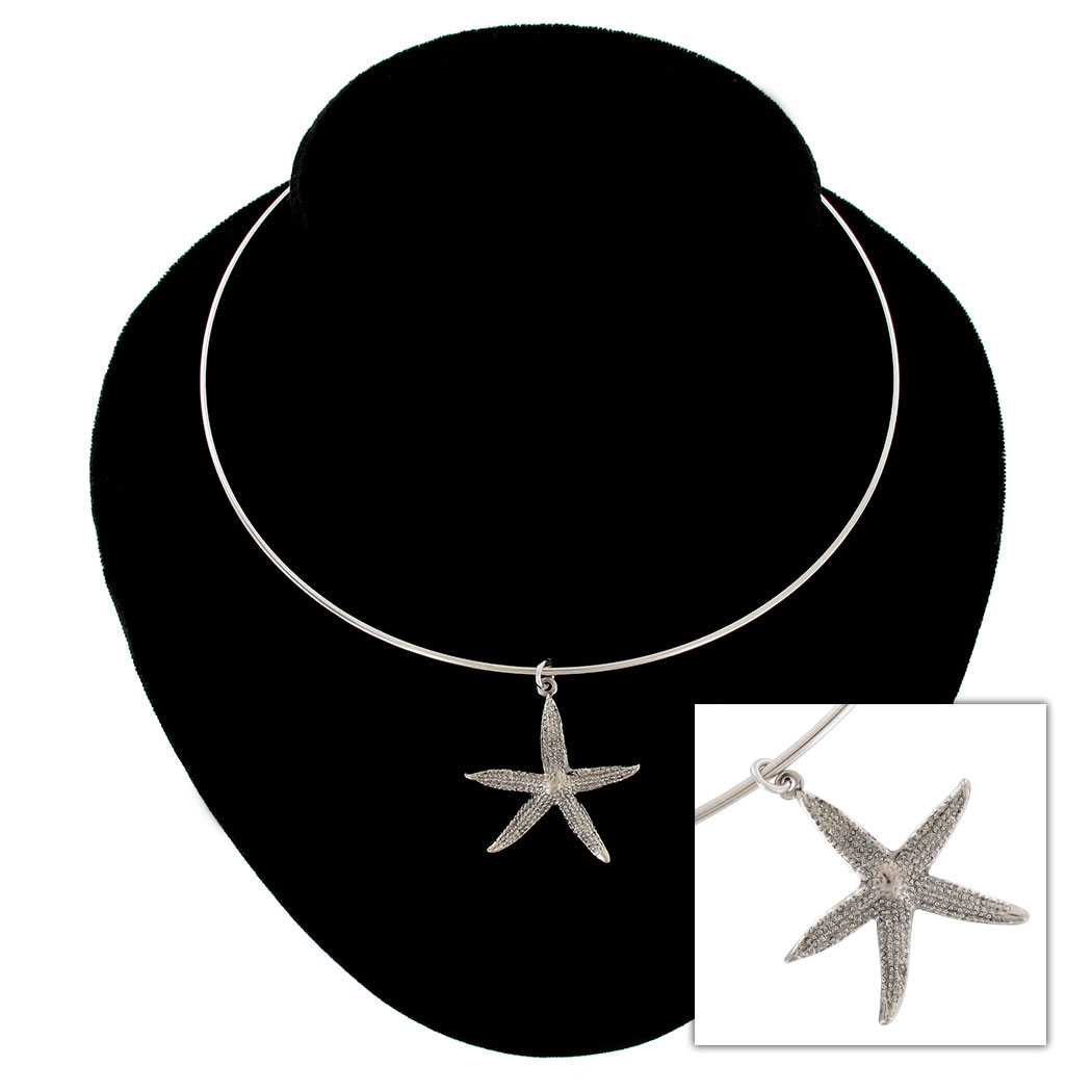 Ky & Co Collar Necklace Starfish Nautical Symbol Silver Tone Large Charm USA