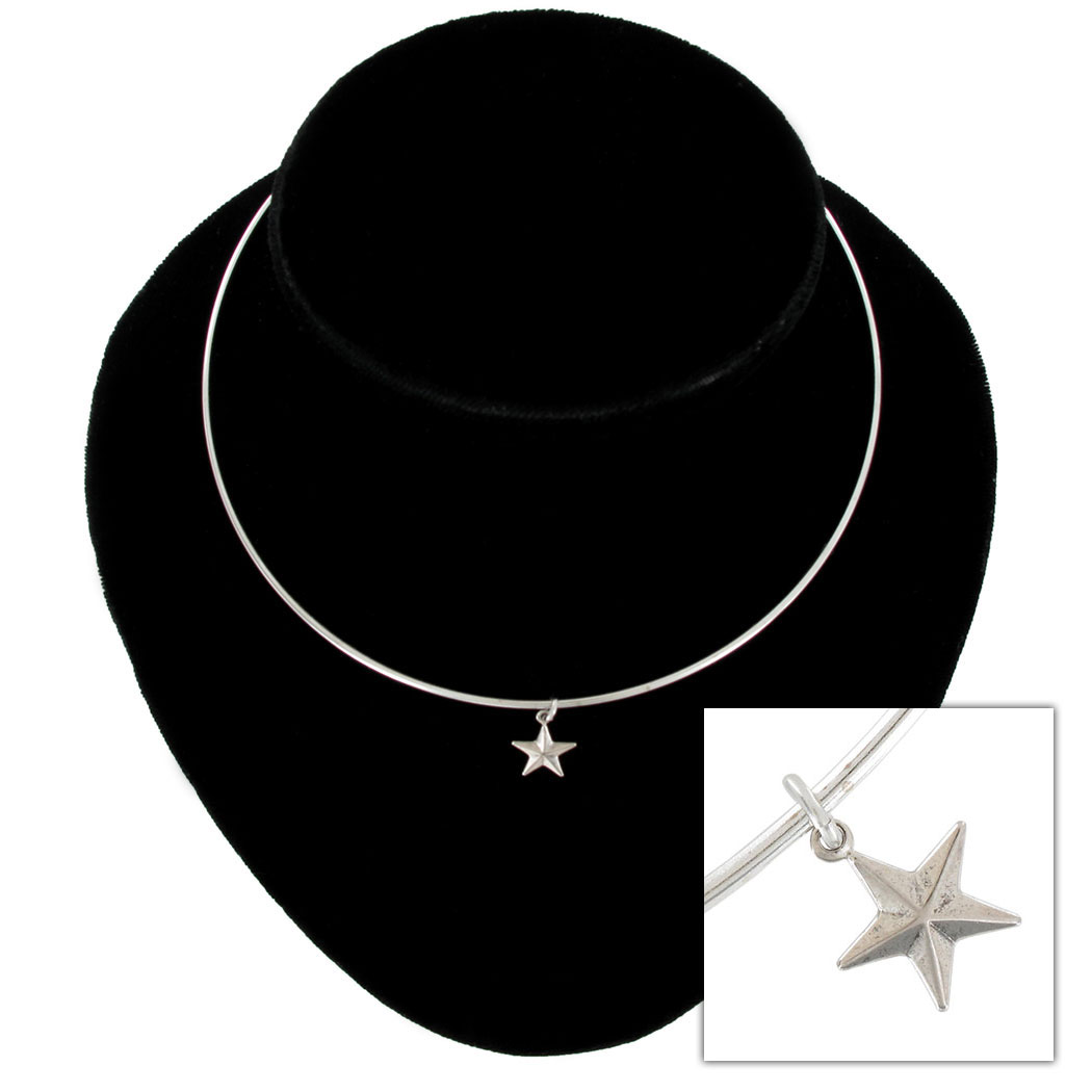 Ky & Co Collar Necklace Star Symbol Silver Tone Charm USA Made Thumbnail 1