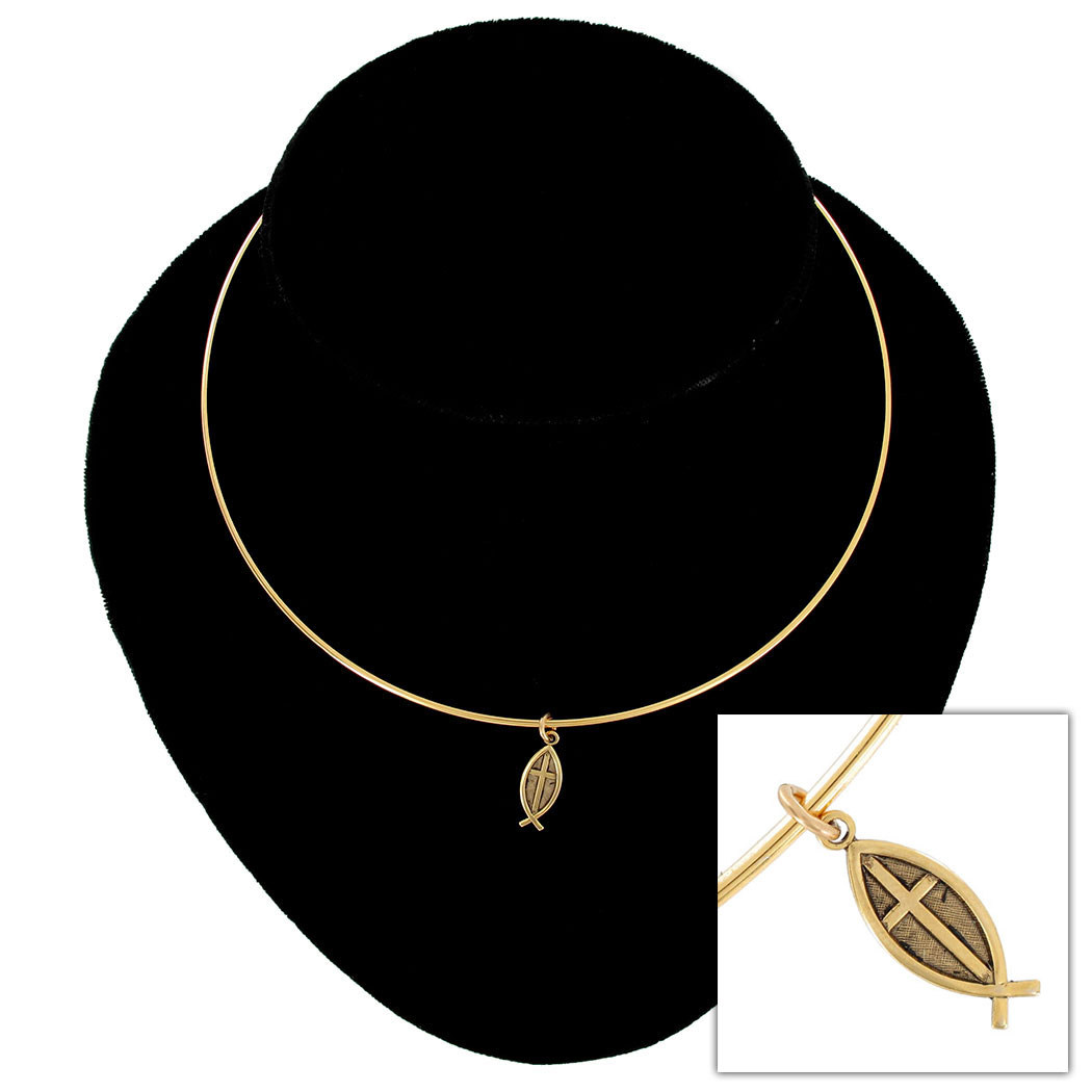 Ky & Co Gold Tone Collar Necklace Jesus Fish Ichthys Christian Pendant Charm