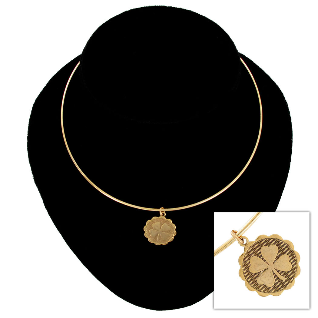Ky & Co Gold Tone Collar Necklace Four Leaf Clover Irish Luck Pendant Charm USA