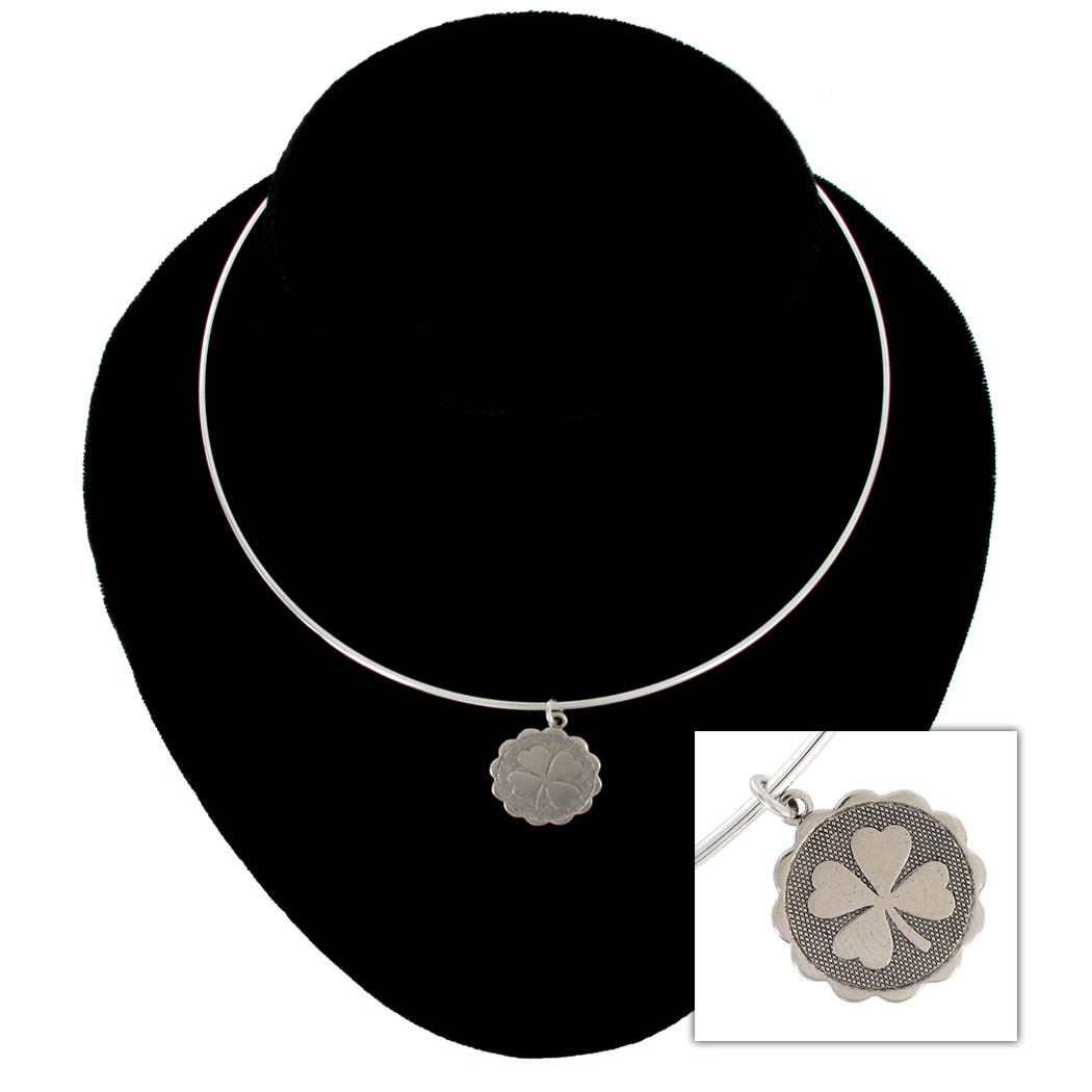 Ky & Co Silver Tone Collar Necklace Four Leaf Clover Irish Luck Pendant USA Made Thumbnail 1