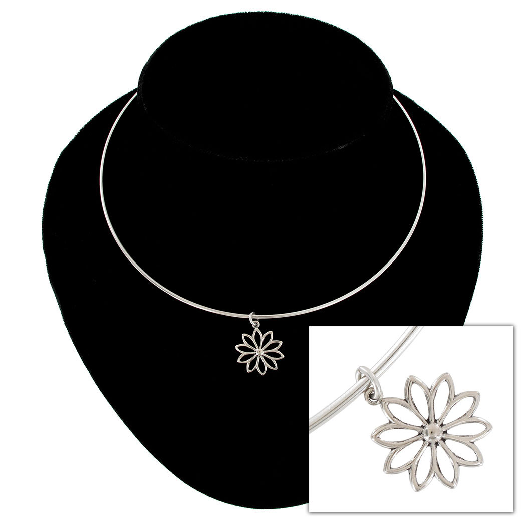 Ky & Co Collar Necklace Daisy Flower Nature Symbol Silver Tone Charm USA Made