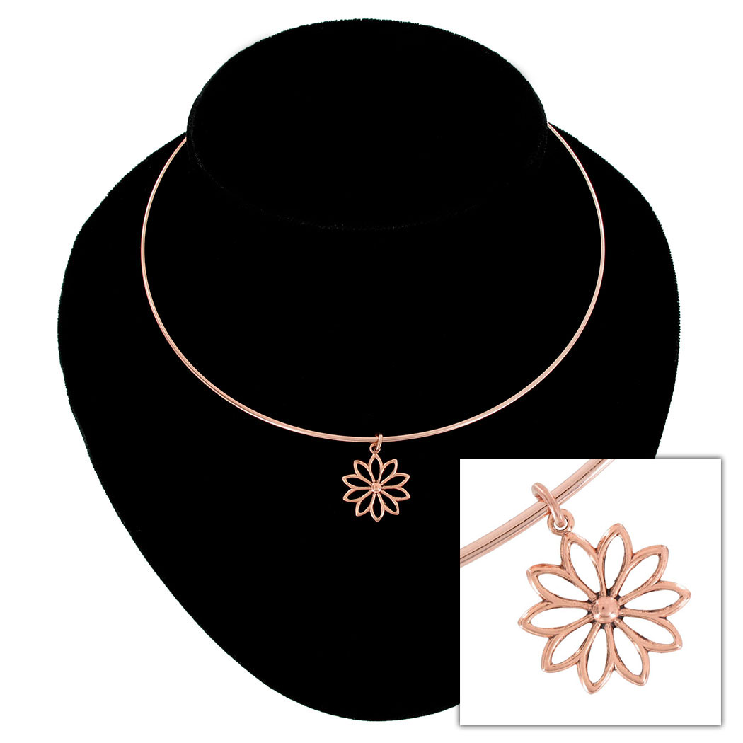 Ky & Co Daisy Flower Pendant Collar Necklace Rose Gold Tone USA Made