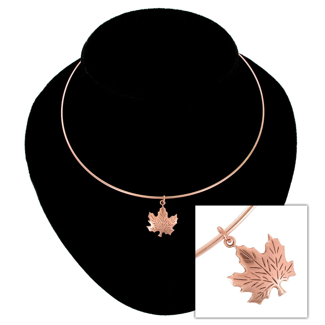 Ky & Co Collar Necklace Canadian Maple Leaf Symbol Rose Gold Tone Charm USA Thumbnail 1