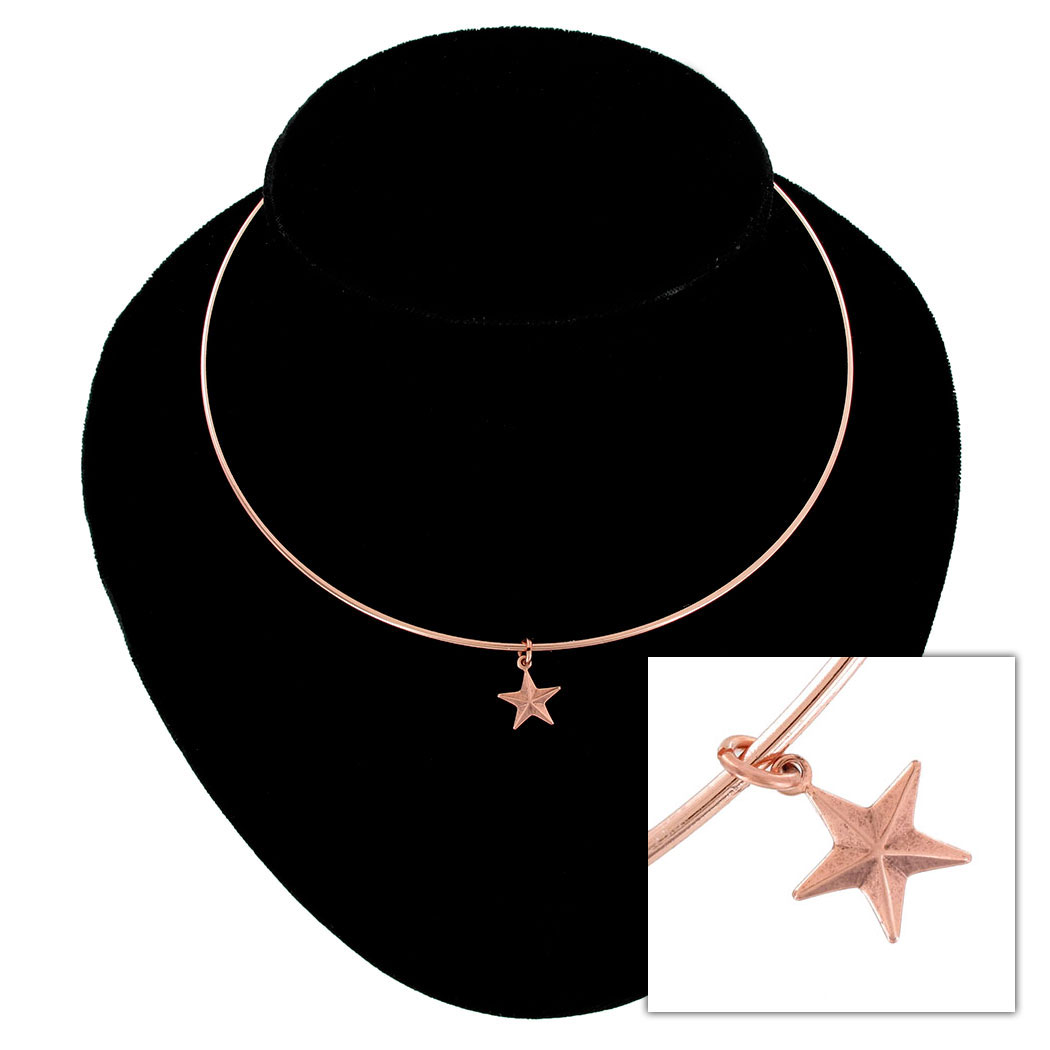 Ky & Co Collar Necklace Nautical Star Nature Symbol Rose Gold Tone Charm USA