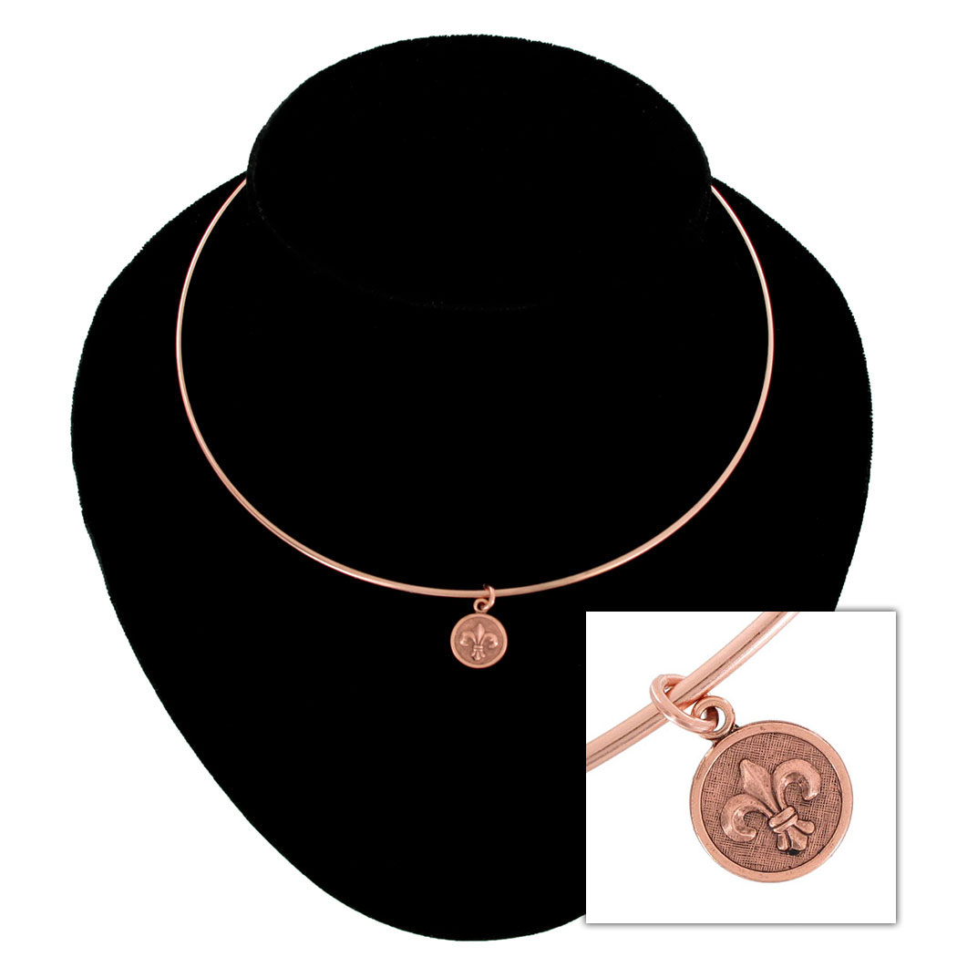 Ky & Co Collar Necklace Fleur De Lis Symbol Rose Gold Tone Charm USA Made