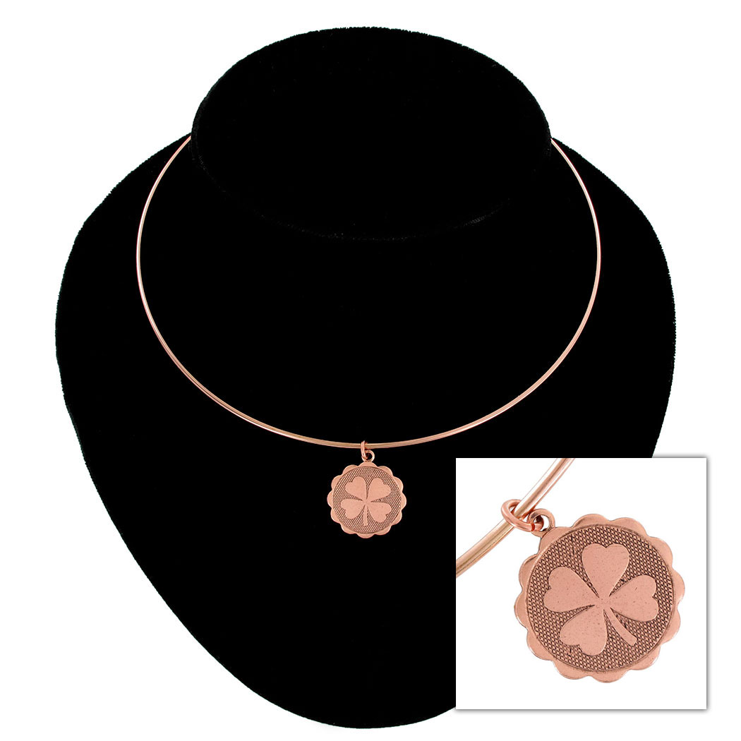 Ky & Co Rose Gold Tone Collar Necklace Four Leaf Clover Irish Luck Pendant Charm