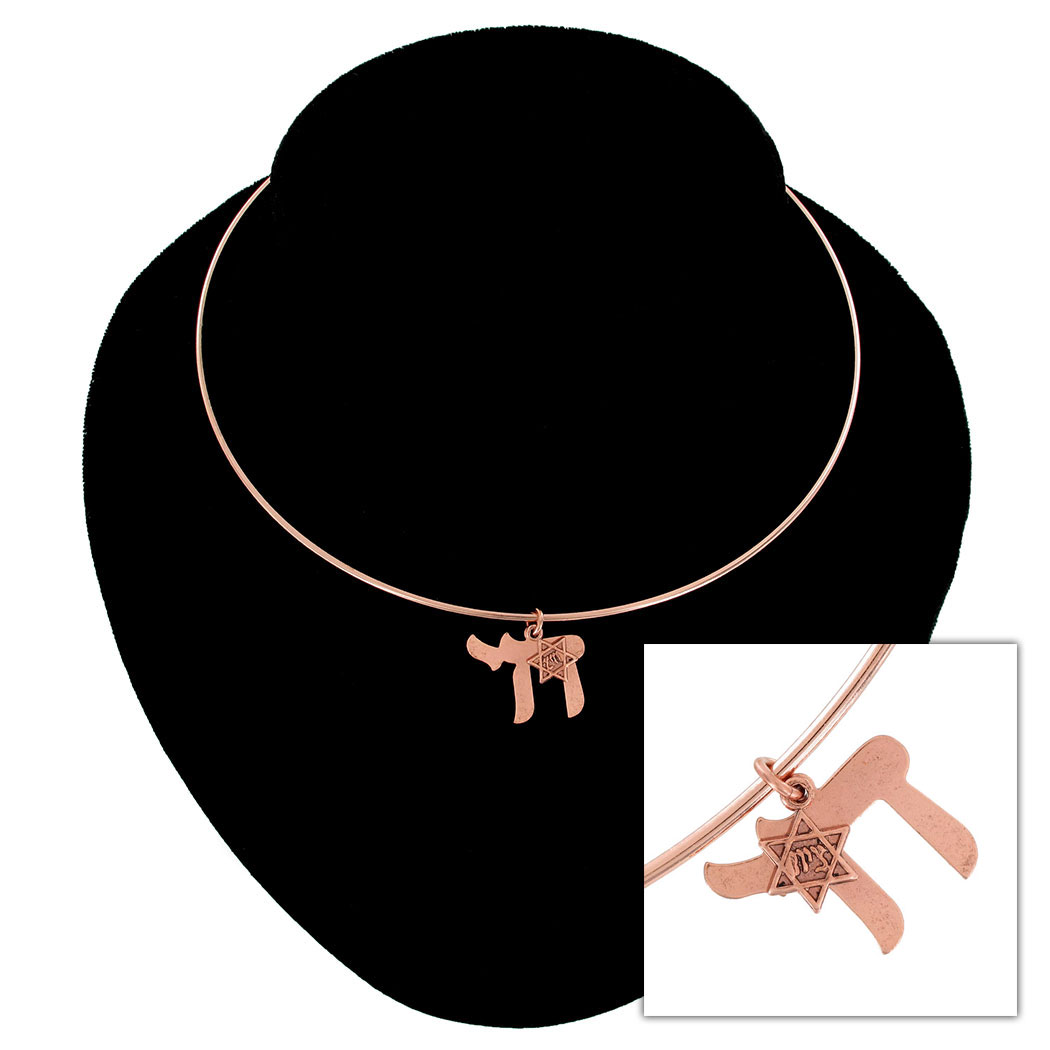 Ky & Co Rose Gold Tone Collar Necklace Jewish Chai Symbol Star Of David Charm