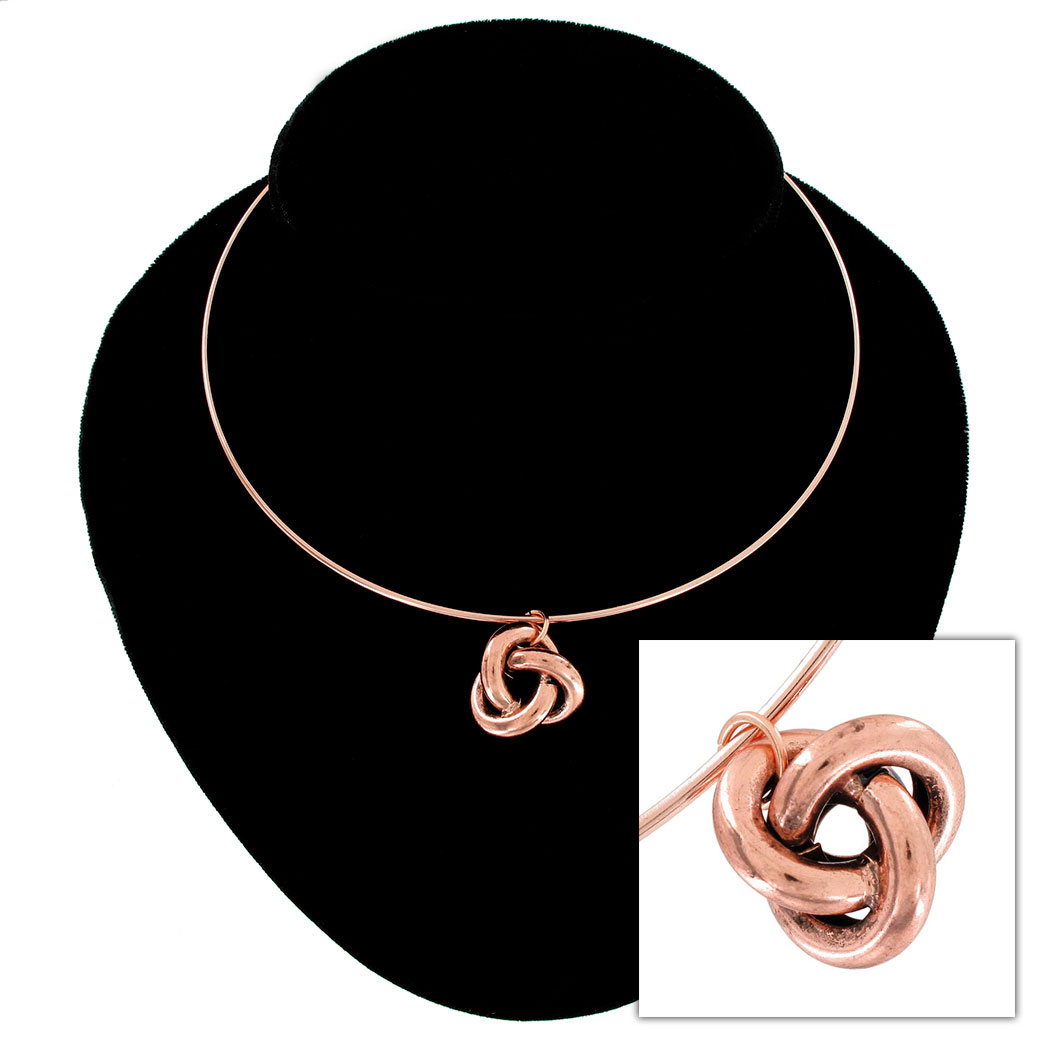 Ky & Co Rose Gold Tone Necklace Knot Pendant Charm USA Thumbnail 1
