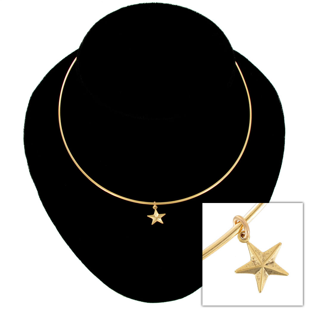 Ky & Co Collar Necklace Nautical Star Nature Symbol Gold Tone Charm USA Made