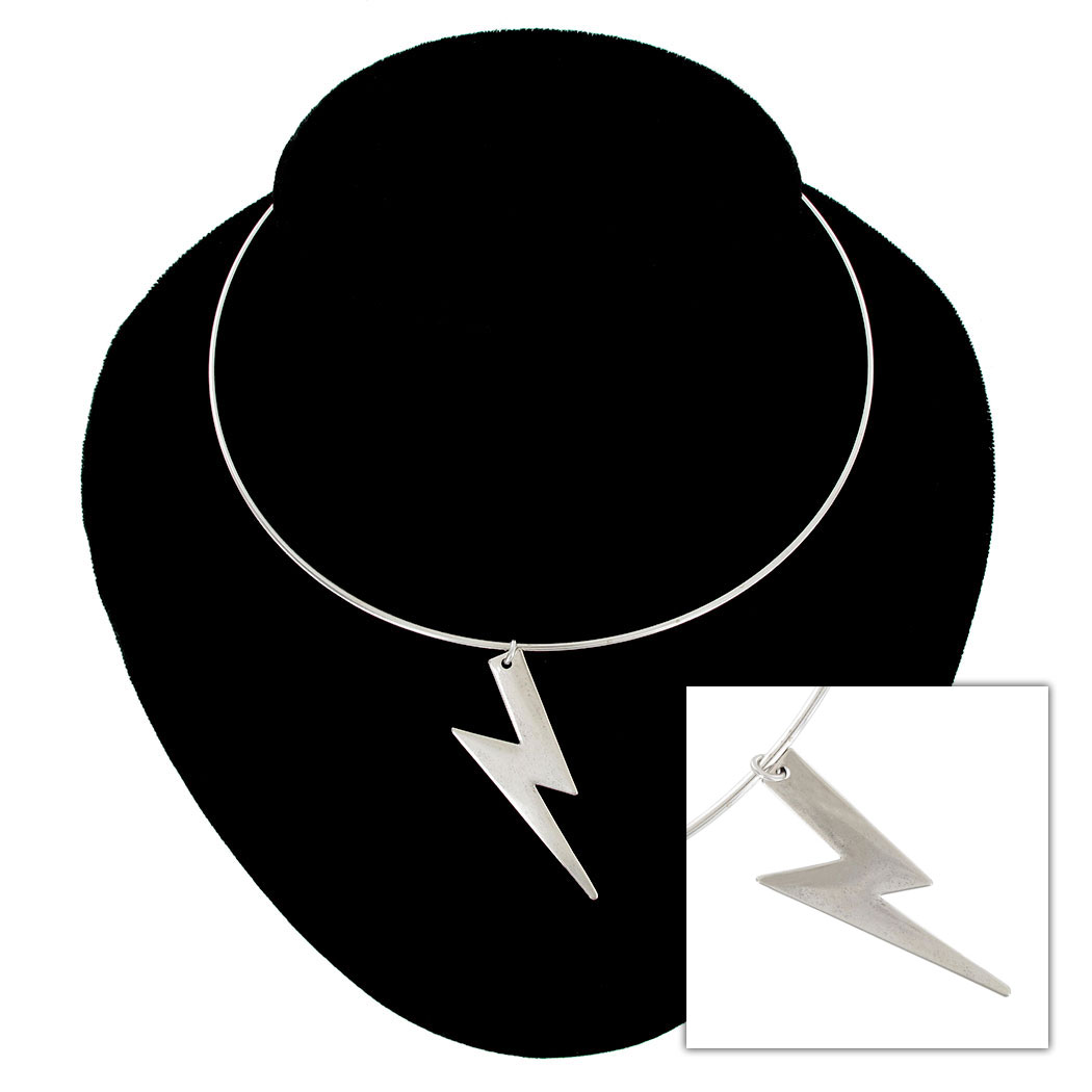 Ky & Co Silver Tone Collar Necklace Lightning Bolt Pendant USA Made