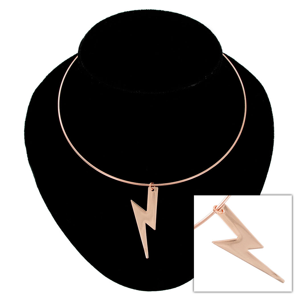 Ky & Co Rose Gold Tone Collar Necklace Lightning Bolt Pendant USA Made