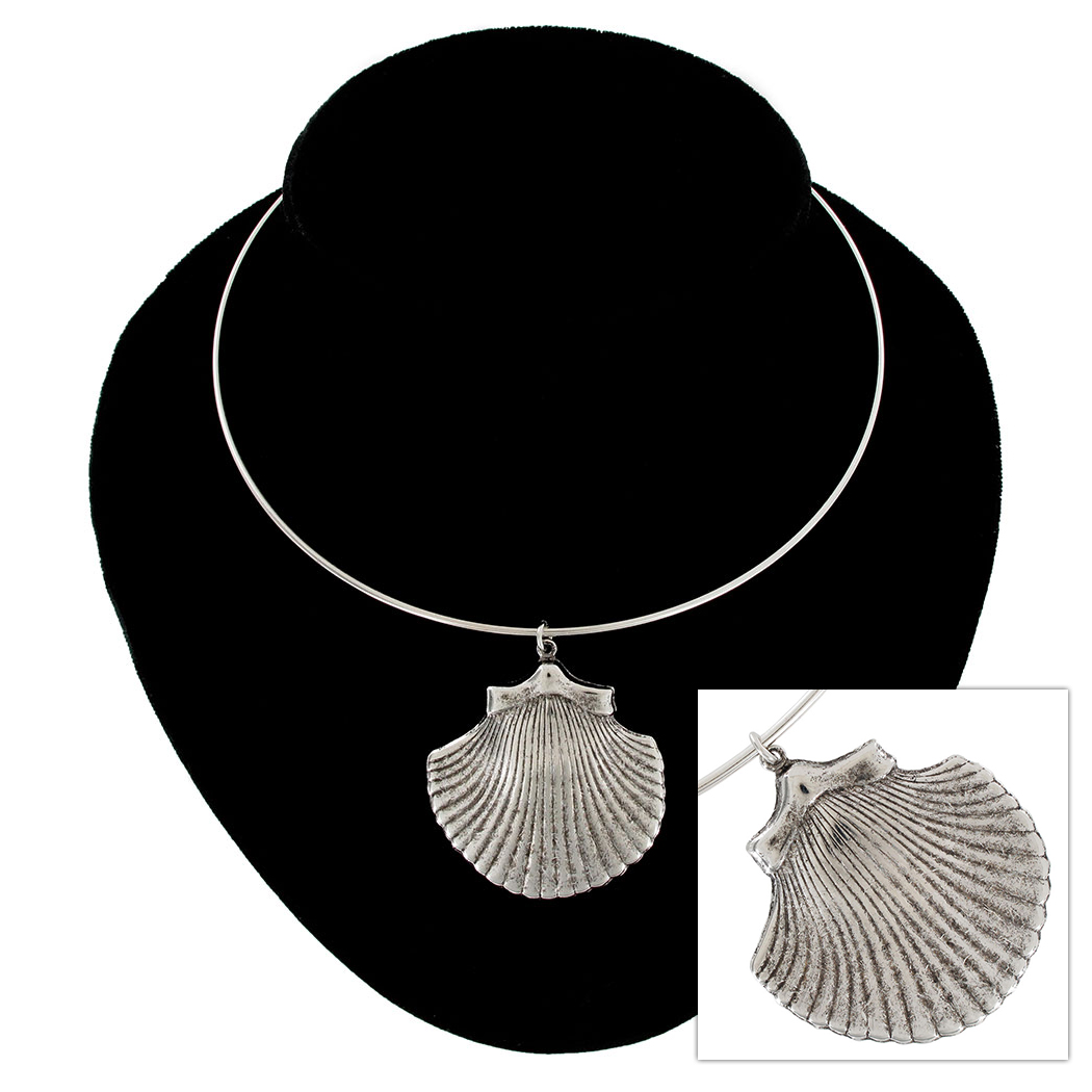 Ky & Co Silver Tone Large Cockle Sea Shell Beach Nautical Collar Necklace USA Thumbnail 1