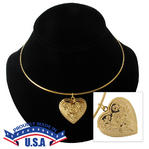 KY & Co USA Made Pendant Locket Collar Necklace Gold Tone Rose Heart Photo Metal