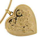 KY & Co USA Made Pendant Locket Collar Necklace Gold Tone Rose Heart Photo Metal Thumbnail 4