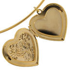 KY & Co USA Made Pendant Locket Collar Necklace Gold Tone Rose Heart Photo Metal Thumbnail 5