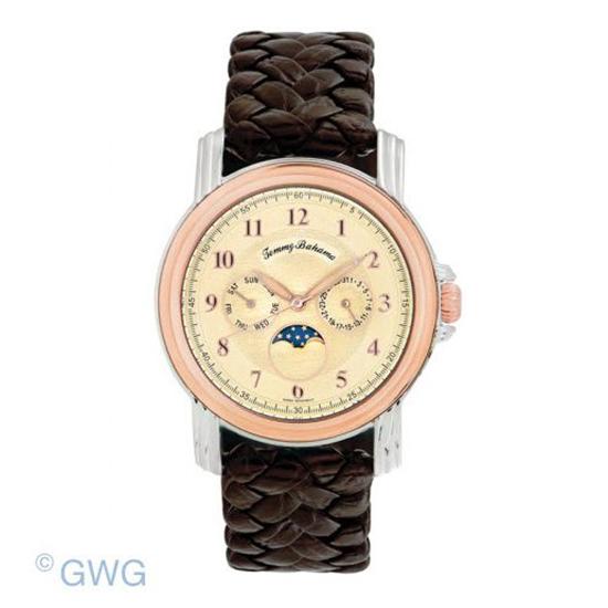 ac3b47f2100 Tommy Bahama TB1065 Moon Men's Two Tone Brown Woven Leather Swiss Watch SPO