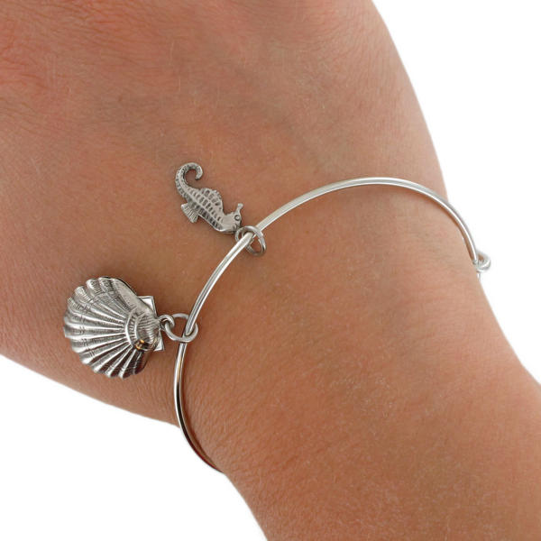 KY & Co USA Made Parts Silver Tone Bracelet Bangle Nautical Sea Shell Sea Horse