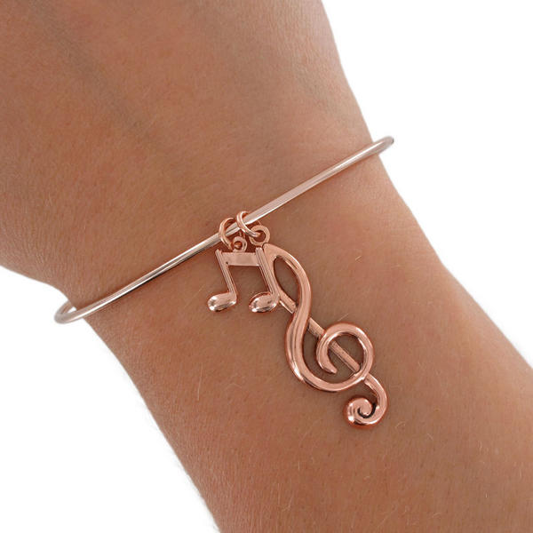 Parts Ky & Co Rose Gold Tone Bracelet Bangle Music Notes G Clef Treble Charm USA Made