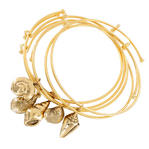 Parts Ky & Co Gold Tone Bracelet Bangle Set Of 5 Sea Shell Beach Nautical Charms USA