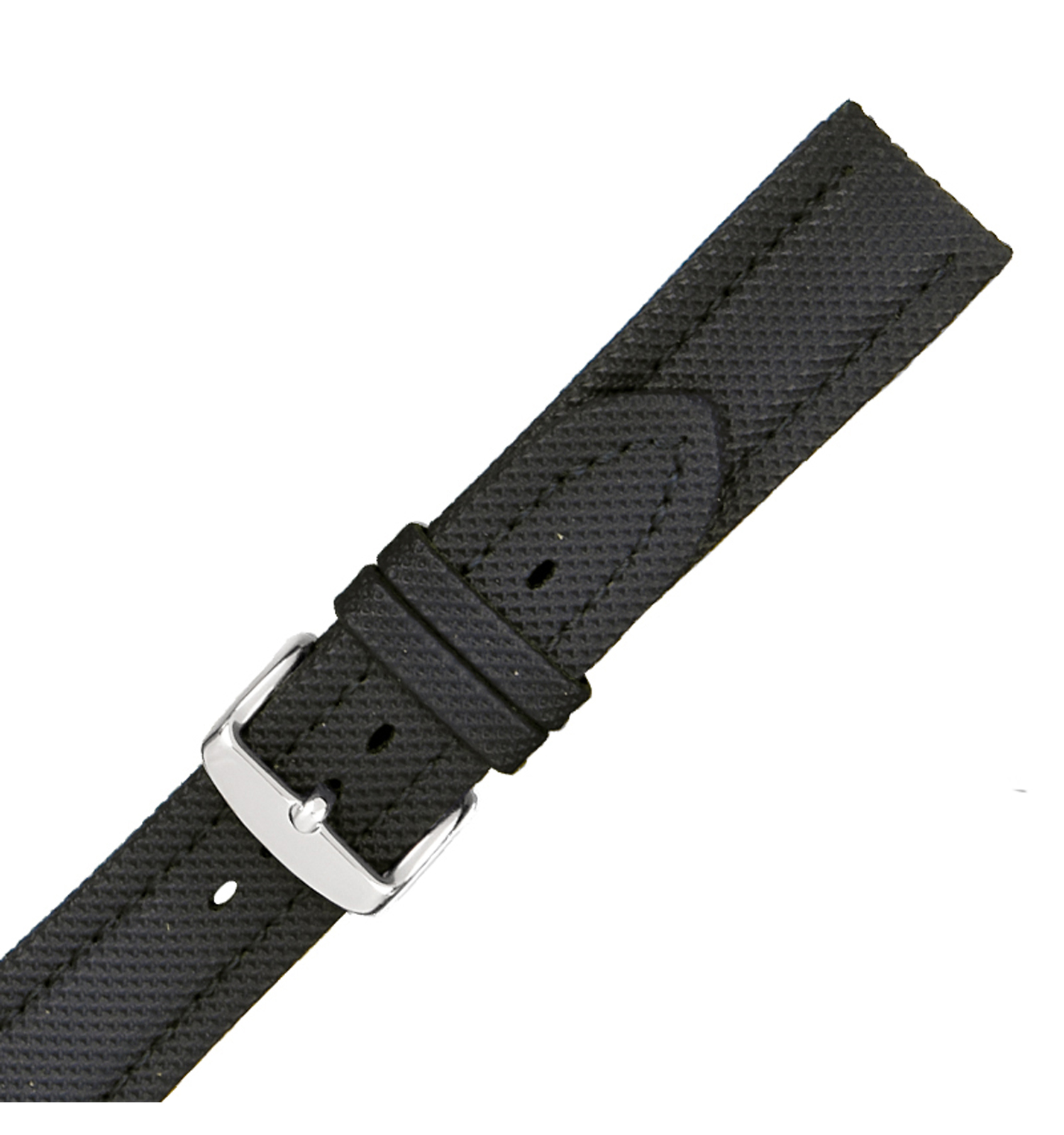 Hadley-Roma MS841 18mm Black Textured Stitched Men Watch Strap