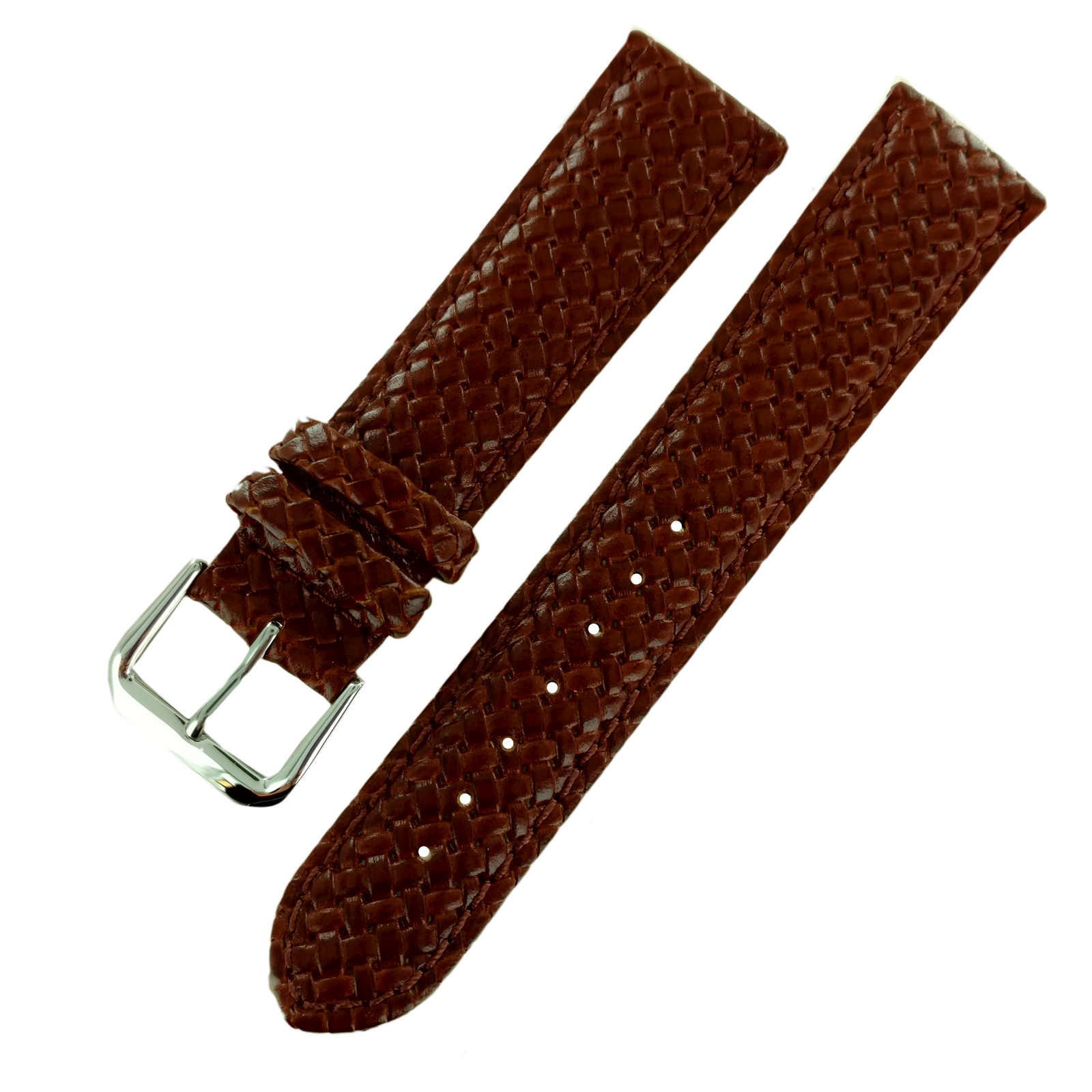 Hadley-Roma MS843 18mm Tan Woven Braided Stitched Genuine Leather Watch Strap