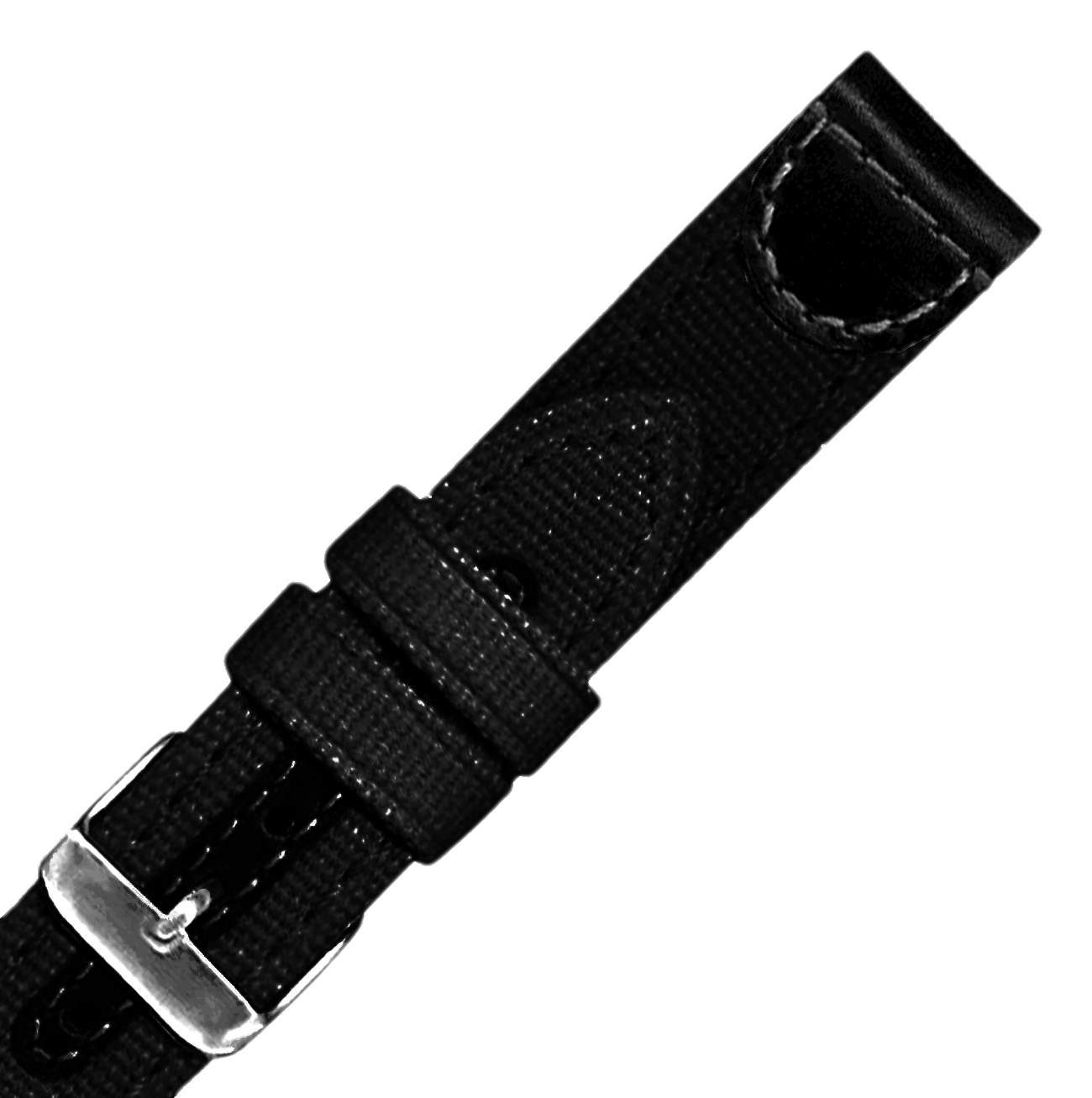 Hadley-Roma MS868 18mm Black Genuine Leather & Canvas  Mens Watch Strap