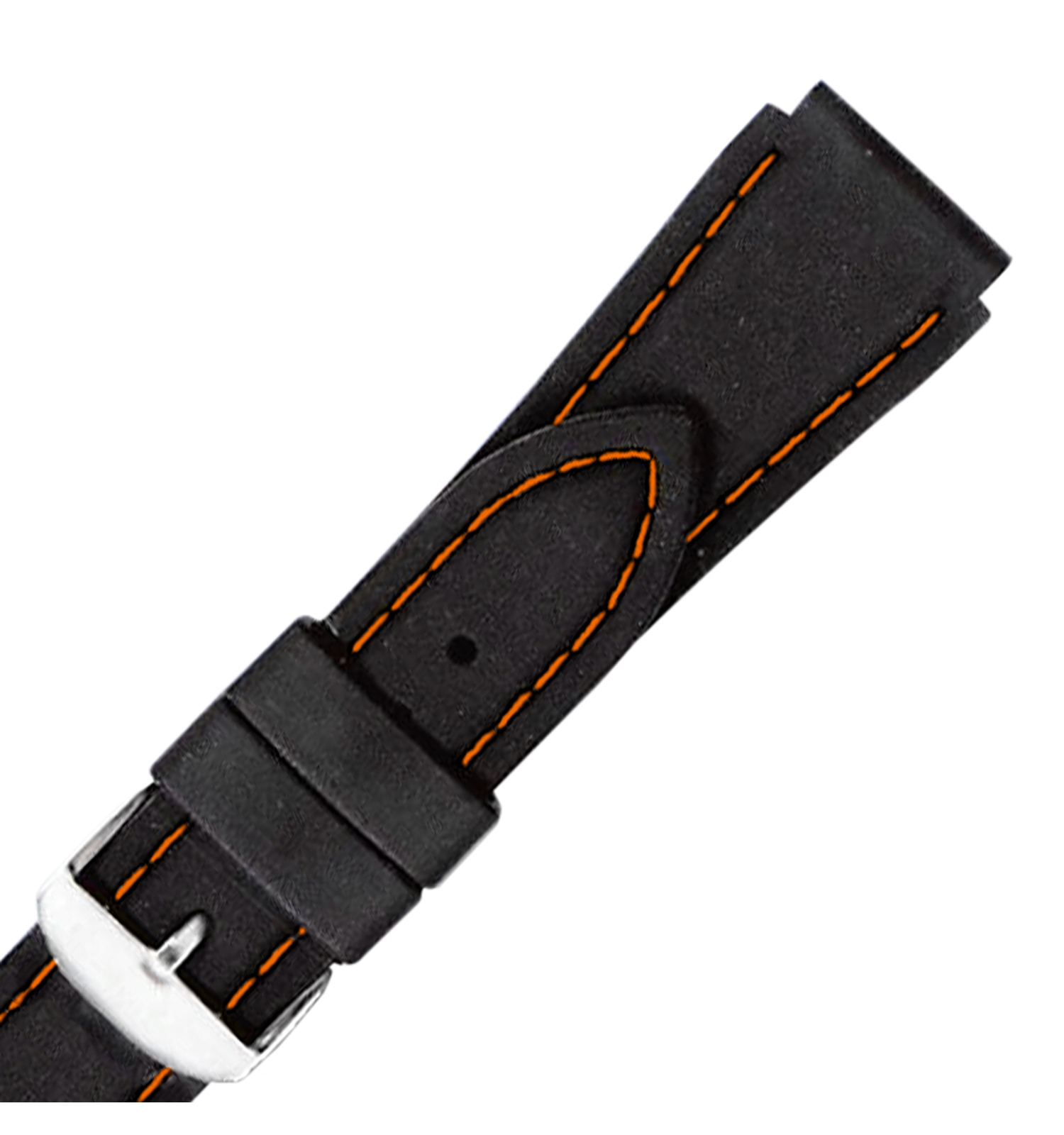 Hadley-Roma MS3345 18mm Black Genuine Rubber Orange  Mens Diver Watch Band