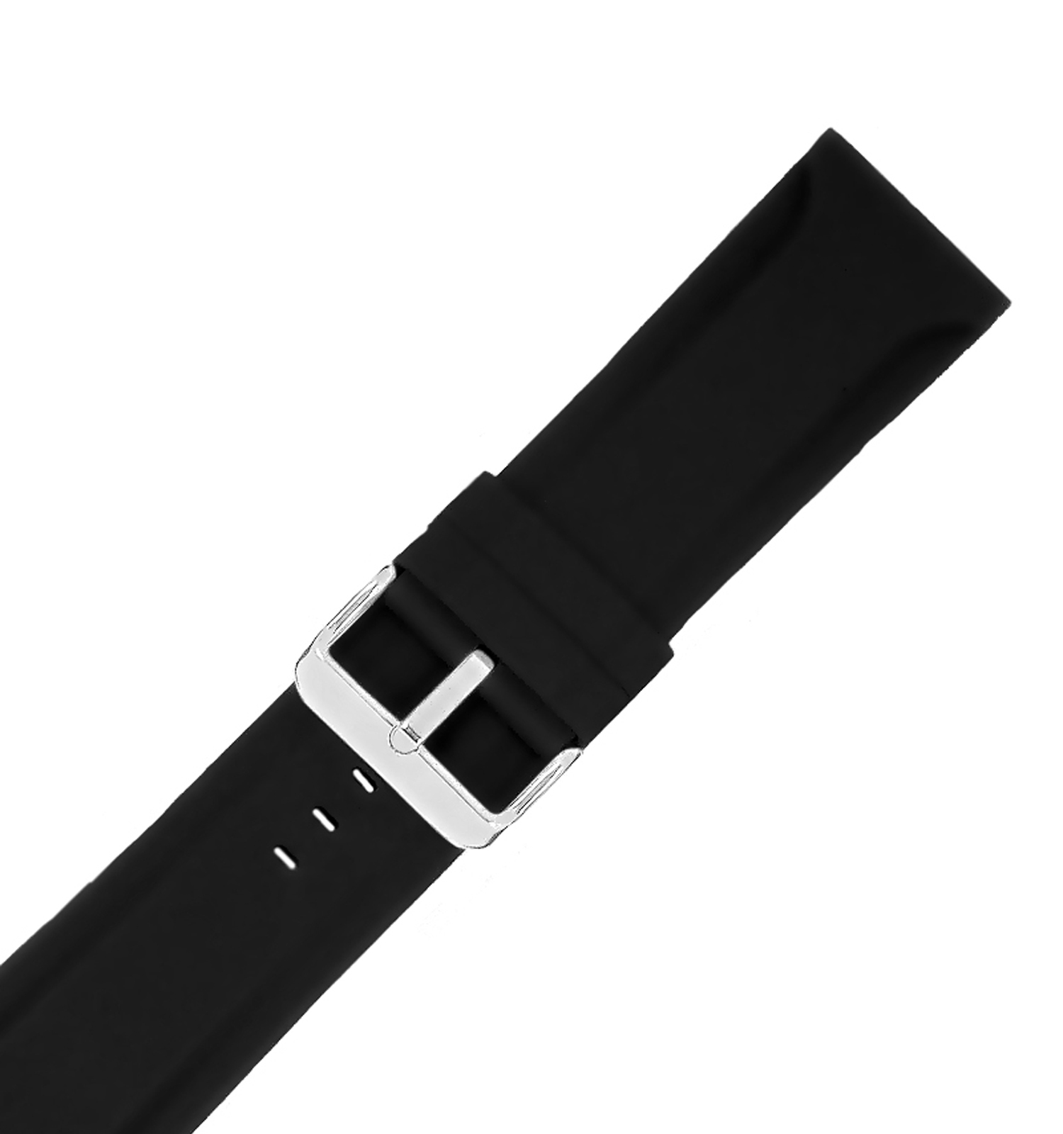 Hadley Roma MS3377 28mm Black Silicone Men's Diver Watch Band