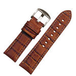 Hadley-Roma MS2035 22mm Tan Alligator Grain Contrast Stitch Watch Strap