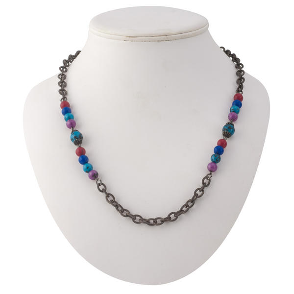 "Multicolor Blue Purple Red Beaded Chain Collar Necklace 24"" 1960s Vintage"