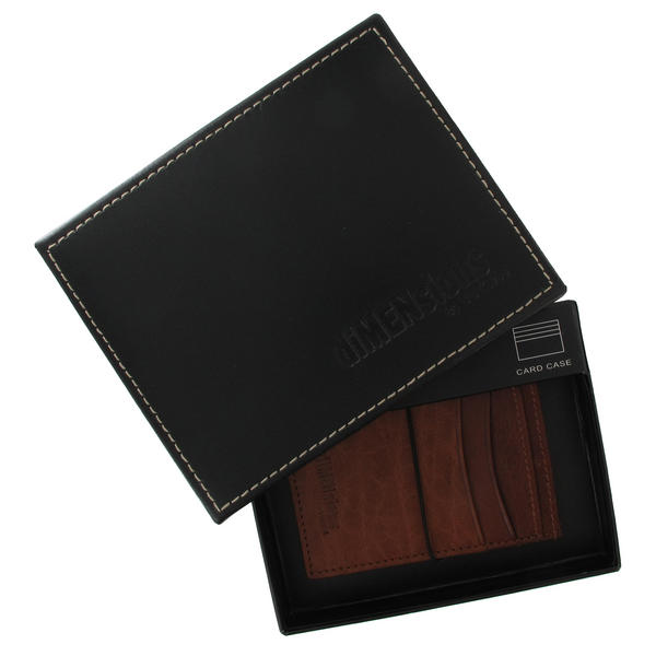 Cognac Tan Genuine Leather Credit Card Holder Men's Dimensions by WCM