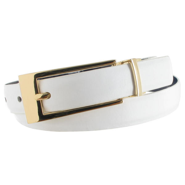 WCM White Leather Reversible Blue Patent Ladies Belt Size Large