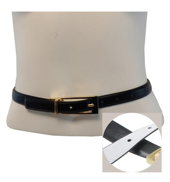 WCM Black Leather Reversible White Patent Ladies Belt Size Small