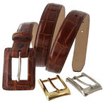 WCM Tan Kara Croco Grain Leather Ladies Belt Interchangeable Buckles Size Large Thumbnail 1