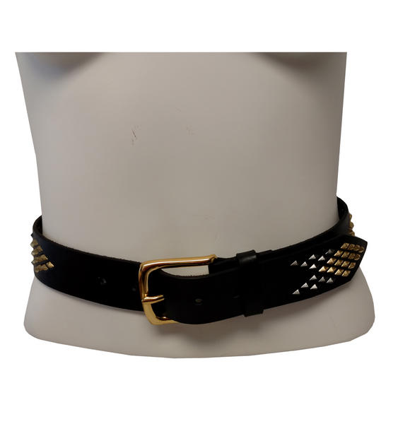 WCM Black Leather Diamond Shaped Multi Color Stud Jean Belt Size Medium