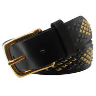 WCM Black Leather Diamond Shaped Multi Color Stud Jean Belt Size Medium Thumbnail 4