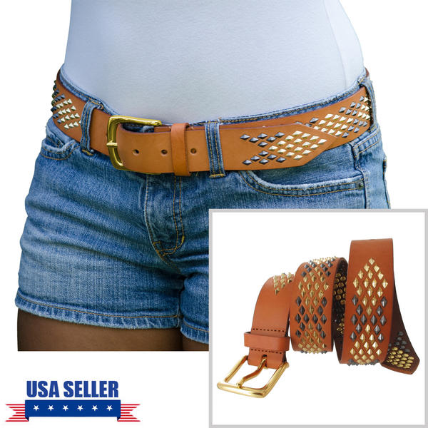 WCM Vachetta Tan Leather Diamond Shaped Multi Color Stud Jean Belt Size L