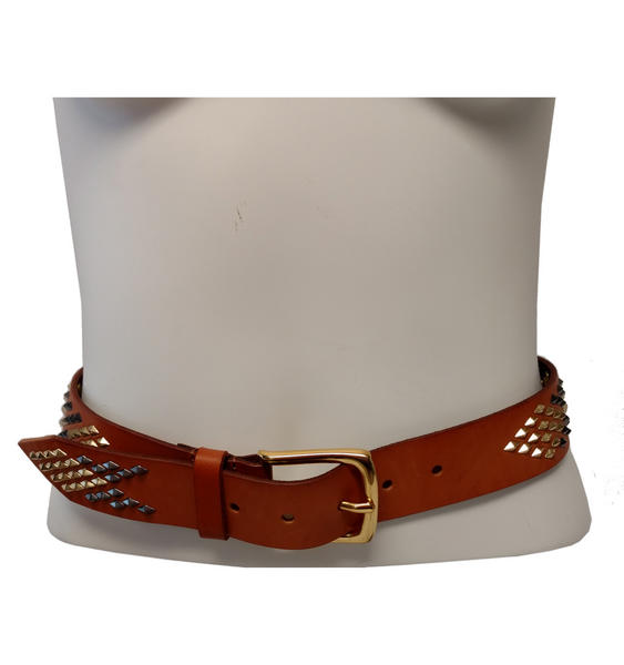 WCM Vachetta Tan Leather Diamond Shaped Multi Color Stud Jean Belt Size Medium