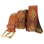 WCM Vachetta Tan Leather Diamond Shaped Multi Color Stud Jean Belt Size Medium Thumbnail 3