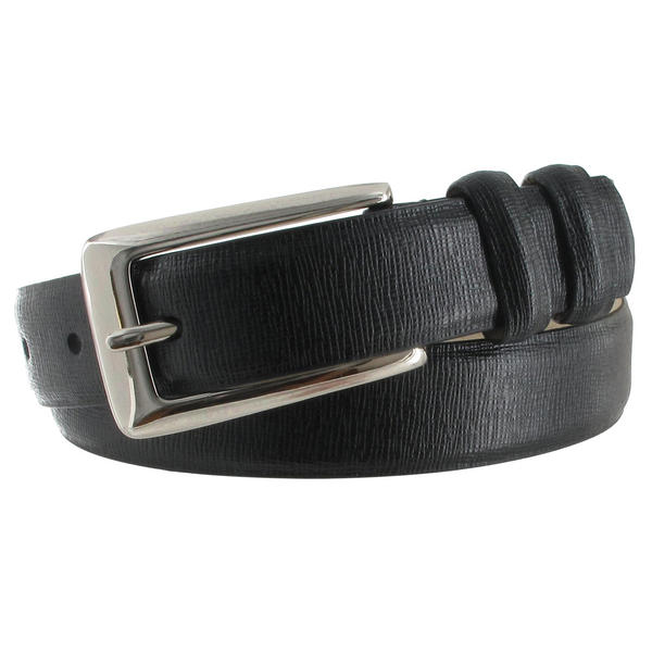 WCM Black Italian Saffiano Leather Skinny Ladies Belt Silver Tone Buckle Size Large