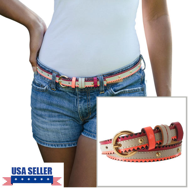 Nanette Lepore Gold Tone Studded Skinny Red Tribal Belt Harness Buckle Size Large