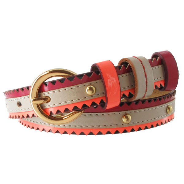 Nanette Lepore Gold Tone Studded Skinny Red Tribal Belt Harness Buckle Size XL