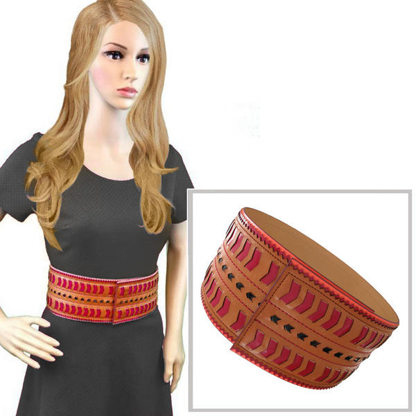 Nanette Lepore Wide Tribal Runway Belt Vachetta Tan Red Black Size Medium