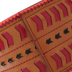Nanette Lepore Wide Tribal Runway Belt Vachetta Tan Red Black Size Medium Thumbnail 5
