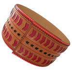 Nanette Lepore Wide Tribal Runway Belt Vachetta Tan Red Black Size Medium Thumbnail 2